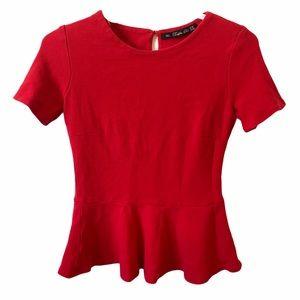 Zara Trafaluc Red peplum T-shirt